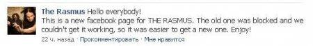 Новая страница The Rasmus на Facebook